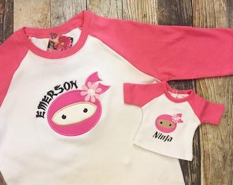 "Matching Girl's and Doll's Raglan Shirt - Personalized Raglan Tshirt - Ninja Face Embroidered Top - 18"" Doll Clothes - Karate Shirts"