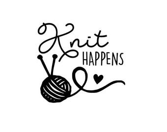 Knit Happens Knitting Vinyl Decal Sticker