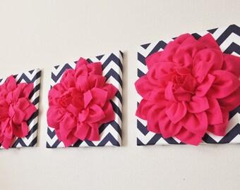 Pink Flower Wall Art Sculpture Set, Bathroom, kitchen wall decor, handmade,  hot pink bathroom wall decor Dahlia Mum 12 Inch Set of Three