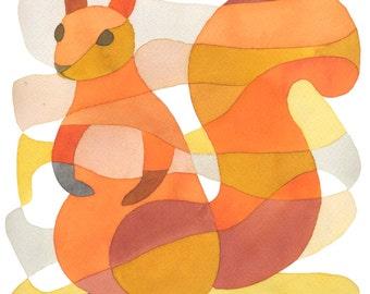 Écureuil Mid Century Modern impression orange rouge jaune rose 8 x 10