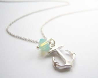 Silver necklace with anchor pendant and opal green Swarovski crystal