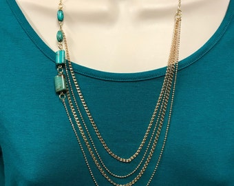 Mult-layered necklace, gold chain necklace, turquoise necklace, beaded necklace