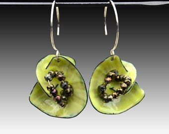 Chartreuse Enamel Sculptural Earrings with Spinel