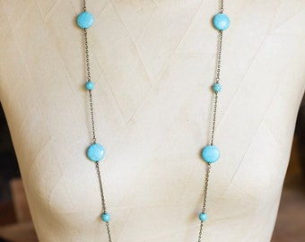 Turquoise Howlite Beaded Chain Necklace