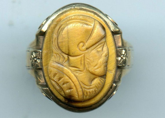 FREE SHIPPING-Antique-1880's-Victorian-10KT-Tigers Eye-Cameo-Ring-Man Size 11-Knight-Solider-9.3 Grams