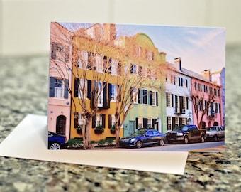 Rainbow Row Greeting Card