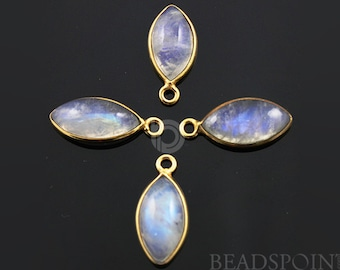 Natural Rainbow Moonstone Faceted Bezel Marquise, Gold Vermeil , Incredible Blue Fire,10x22mm,1 Piece, (RNM10x22)