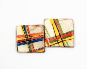 Set of 2 tartan cabochons, square shape, white, red, yellow, rustic, kitsch ceramic component for jewelry, glazed on front only, unique ooak