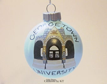 School College University Ornament MADE TO ORDER Christmas Glass Bauble Graduation Gift Teacher Appreciation Gift Hand Painted Custom
