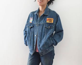 Vintage - Hippie Jean Jacket - Patch Work - Women's Extra Small