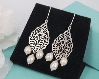 Freshwater Pearl Matte Silver Filigree Earrings