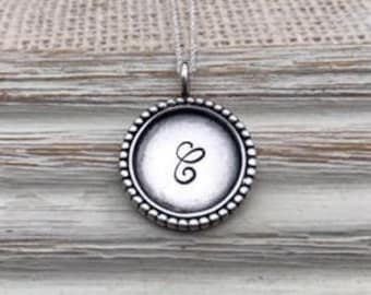 sterling silver dotted initial necklace