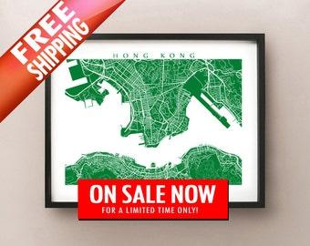 Hong Kong Map Print - China Poster Art