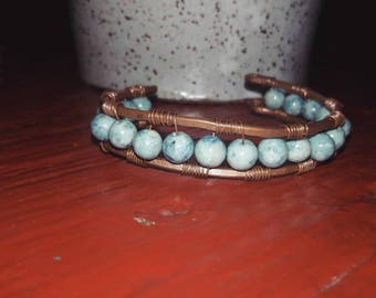Copper and gemstone bracelet