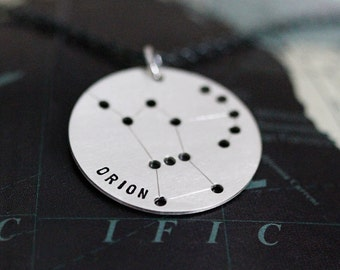 Orion Necklace, Orion Constellation Necklace - Astrological Zodiac Sign Jewelry, Sterling Silver
