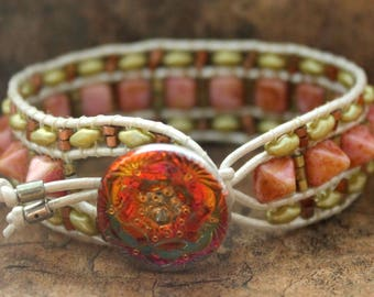 Pyramid Leather Wrap Bracelet Copper and Green