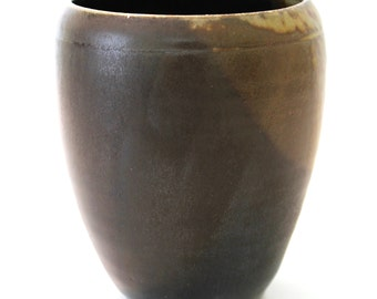 Stoneware Pottery Vase. Wood Fired Pottery. Medium. Black. Charcoal Gray. Espresso Brown. Earth Tones. OOAK