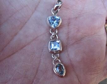 Vintage  925 Sterling Silver Blue Topaz Pendant