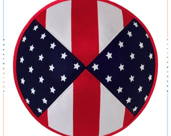 United States flags jewish kippah yarmulke. Wedding - Bar Mitzvah - Shabbat.