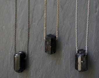 Black Tourmaline / Raw Tourmaline / Stone of Empowerment / Tourmaline Necklace / Tourmaline Pendant