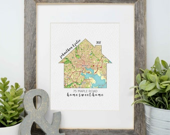 New Home Gift, Realtor Gift, Moving Gift, Closing Gift, Relocating Gift, Gallery wall, Custom Housewarming Gifts, New Apartment, House Map