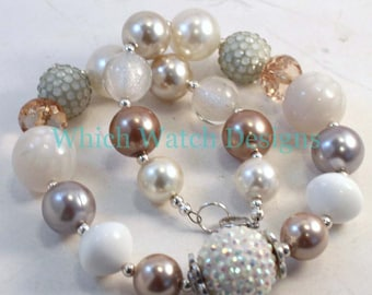 Elegance.. Fancy White, Cream, Gold, Taupe and Gray Toddler Bubblegum Necklace