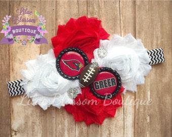 Arizona Cardinals Personalized Shabby Headband, Football Baby Headband, Cardinals Football Headband, Arizona Infant Headband, Arizona Outfit