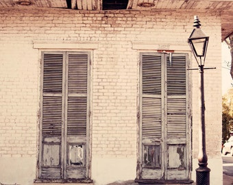 new orleans photography french quarter architecture lamppost new orleans art white home decor Old Shutters