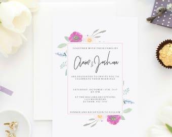 Wedding invitations set printable - Wedding invitation floral - Printable wedding invites set - Digital invitations - Flower invites