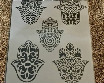 FIVE SPIRITUAL HAMSAS   Stencil Girl laser cut stencil  9 x 12