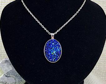Royal Blue Druzy Necklace - Druzy - Bridesmaid  Necklace - Oval Druzy Necklace - Blue - Druzy Jewelry - Oval Necklace - Druzy Pendant - Gift