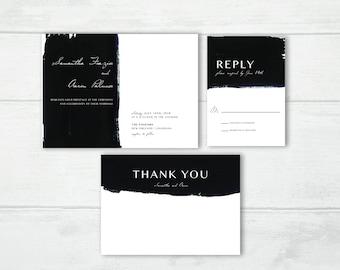 Contrasting Brushstroke Digital Wedding Invitation Suite