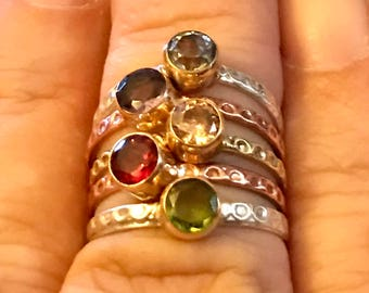 Sterling Silver Copper and Brass Stacking Rings