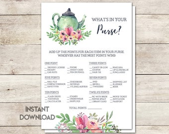 What's in Your Purse Bridal Shower Game, Tea Party Bridal Shower, Tea Party Theme, Wedding Shower Game, Purse Game, Printable No. 1018