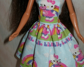 """Handmade 11.5"""" fashion doll clothes - blue and pink kitty dress"""