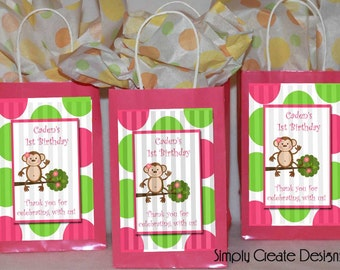 Mod Monkey Party Favor Tag Baby Shower Girl DIGITAL FILE 4x6 Jpeg Digital File Personalized