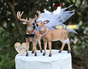 Deer Wedding Cake Topper, Hunting Wedding Cake Topper, Buck and Doe Cake Topper, Bride and Groom Cake Topper Wedding Cake, Wedding Decor,