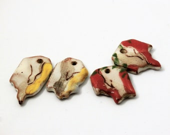 2 pairs of rustic charms, yellow red white, abstract, asymmetric, boho, enameled, ceramic components for jewelry, art charm, pottery, unique