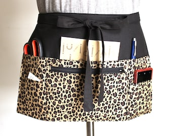 waitress apron - vendor apron - half apron - teacher apron - pocket apron - server apron - utility apron - farmers market apron - cheetah