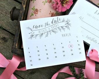 Printable Wedding Save the Date cards. Calendar Save the dates. Custom Save the Date Cards.