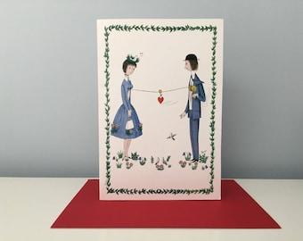 Peynet Vintage Couple Card, Anniversary Greeting Card, Lovers Card, Valentine Card, Wedding Card