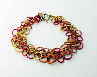 Fiery Shaggy Loops Chainmaille Bracelet Handmade