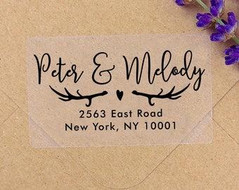 Custom Antler Clear or White Labels, Wedding Labels, Return Address Sticker, Wedding Sticker, Wedding Favors, Return Address Labels, Deer