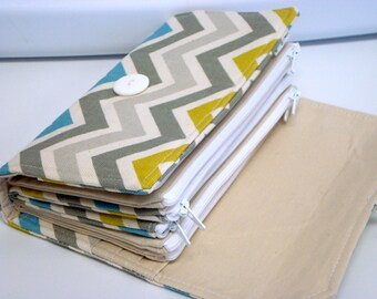 Cash Envelope Wallet  / Dave Ramsey System / Zipper Envelopes - Chevron Zig Zag Pick Your Color - Summerland