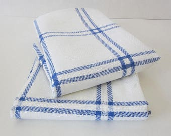 Linen Towel, Kitchen Towel, Dish Towel, Farmhouse Towel, French Towel, Blue White Towel, Plaid Tea Towel, Farm Decor, Rustic Towel