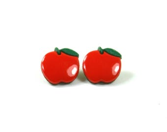 Apple studs, Apple earrings, Red apple earrings, Fruit earrings, Fruit studs