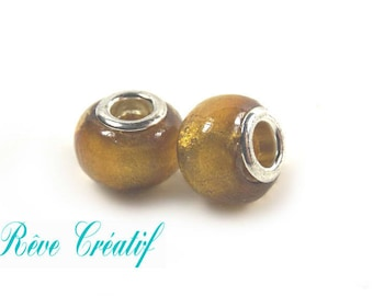 European beads, beads big hole, Lampwork beads, 14mm diameter, hole 5mm, glass and silver leaf, gold, 5 pieces