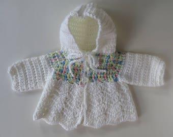Crocheted Baby Sweater, Baby White Sweater, Baby Shower Gift, Hooded Baby Sweater, Baby Boy Sweater, Baby Girl Sweater, Cardigan
