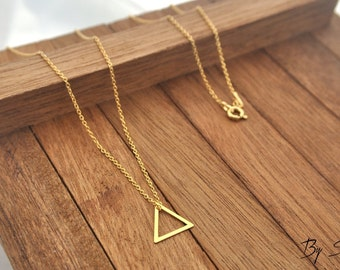 Sterling Silver triangle gold plated Necklace, triangle Pendant, triangle Necklace, triangle Chain, gold triangle, triangle, little triangle