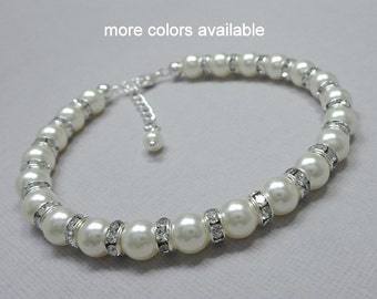 Swarovski White Pearl Bracelet, Bridesmaid Jewelry Maid of Honor Gift Bridal Bracelet Personalized Bridesmaid Gift, Mother of the Bride Gift